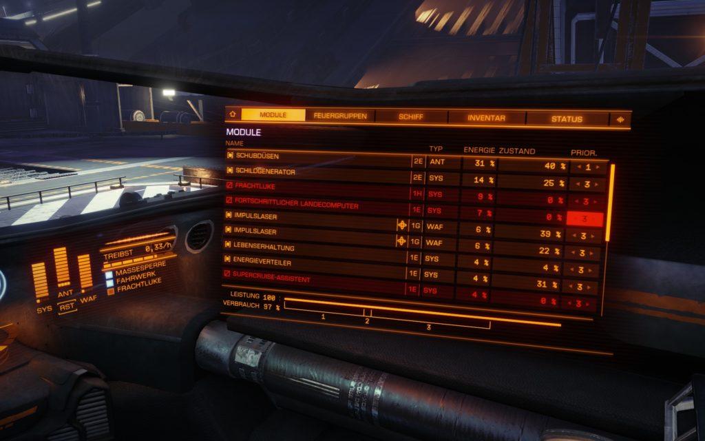 Elite Dangerous screenshot showing badly damaged ship systems